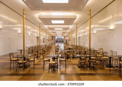 WASHINGTON, USA - SEP 24, 2015: Dineing room at  the John F. Kennedy Center for the Performing Arts. The Center produces and presents theater, dance, ballet, orchestral, chamber, jazz and folk music