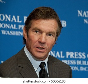 WASHINGTON,DC - April 12:  Famous movie actor Dennis Quaid speaks on preventing medical errors at the National Press Club, April 12, 2010 in Washington, DC