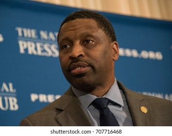WASHINGTON,DC - AUGUST 29, 2017: NAACP Interim President and CEO Derrick Johnson speaks to a headliners luncheon at the National Press Club