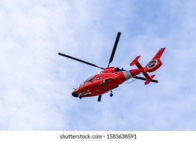 Washington/D.C. - December 07, 2019 : A Coast Guard MH-65 Dolphin helicopter. they provide security for the State of the Union address in Washington D.C