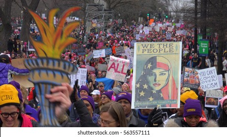 WASHINGTON,DC - JAN 21, 2017: Arriving at Women's March on Washington, part of gigantic, record-breaking turnout that flooded DC in an anti-inauguration show of solidarity.