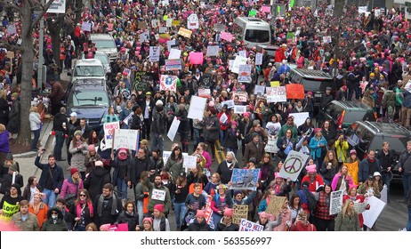 WASHINGTON,DC - JAN 21, 2017: High angle, crowd arriving Women's March on Washington, part of enormous turnout that flooded DC in an anti-inauguration show of solidarity.