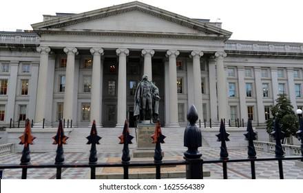 WASHINGTON,DC-NOV 15 2019 :United States Department of the Treasury in WASHINGTON,DC.The Department of the Treasury is an executive department and the treasury of the United States federal government.