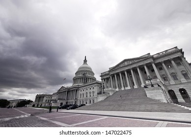 WASHINGTON-OCT 18:Capitol in the bad weather at wide angle in Washington dc on oct 18 2012. US Government shutdown in 2013, Congress failed to enact legislation appropriating fund for fiscal year 2014