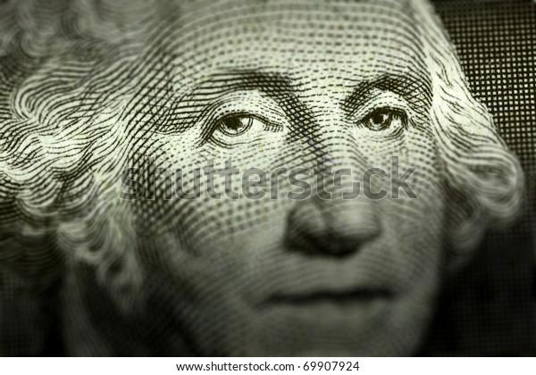 Washington's eyes on a dollar bill