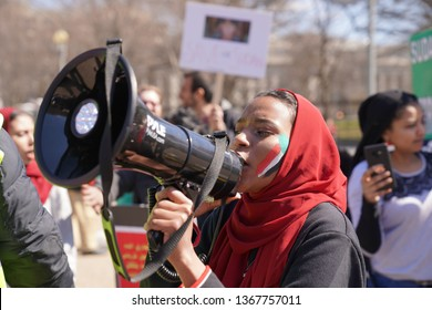 Washington/USA – March 17, 2019: Protesters at the White House seeking the ouster of Sudanese President Omar al-Bashir and demanding a peaceful democratic transformation.