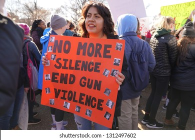 """Washington/USA – March 24, 2018: """"March for Our Lives"""" protesters at the White House demonstrating for a stop to gun violence in schools."""