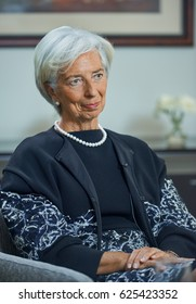 WASHINGTON,USA/APRIL 14,2017: Managing Director of the International Monetary Fund Christine Lagarde during an interview with Russian journalists