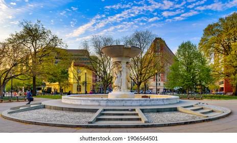 WASHINGTON,USA-APRIL 14,2017: Rear Admiral Samuel Francis Dupont Memorial Fountain
