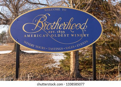 Washingtonville, New York/USA- March 9, 2019: Welcome sign for Brotherhood Winery, the oldest winery in continous use within the United States. The sign states the winery was established in 1839.