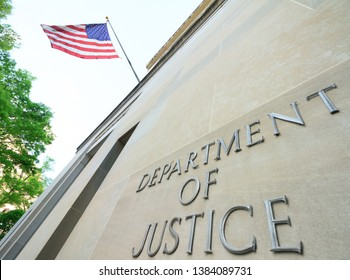 Washinton, DC / USA - April 22 2019: The northern facade of the Department of Justice building in the Nations capital .