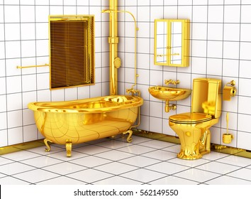 gold toilet. Washroom with golden toilet bowl  sink and bathtub 3d image Gold Toilet Stock Images Royalty Free Vectors Shutterstock