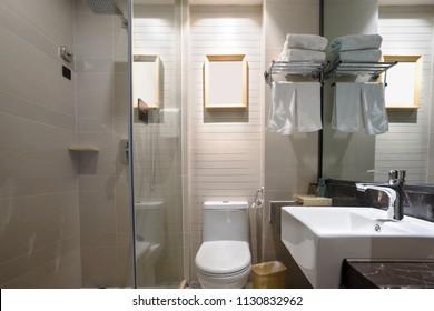 washroom in modern hotel