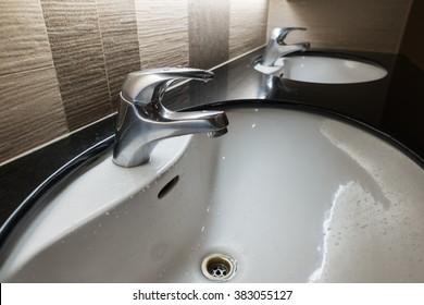 Washstands in public toilet