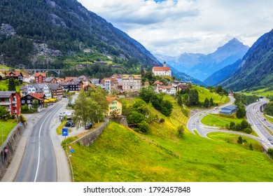 Wassen village on Gotthard pass road in swiss Alps mountain valley, Switzerland