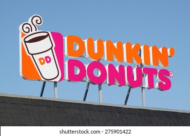 Wasserbillig, Luxembourg - April 20, 2015: Dunkin' Donuts sign. Dunkin' Donuts is an American global doughnut company and coffeehouse chain.