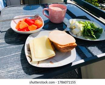 Wassermelone, Frühstück, essen, Sonne, Balkon