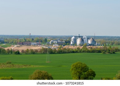 Wassmannsdorf, Germany - April 20, 2018: View from a hill in berlin to the construction site of a sewage treatment plant in Brandenburg