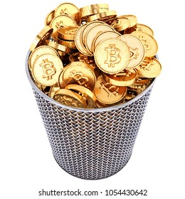 Waste basket with gold bitcoin. Isolated on white background. 3d illustration.