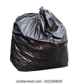 waste, black garbage waste bag plastic (isolated on white background)