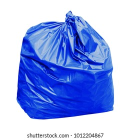 waste, blue garbage bag plastic with concept the color of blue garbage bags is general waste (isolated on white background)