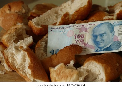 waste of bread and 100 Turkish Lira banknotes, stale bread and material damage, hungry people and bread wastage,