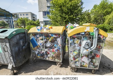 Waste disposal crisis  Overfull garbage bins and accumulated waste covering pavements. 2017.05.12, Lviv, Ukraine