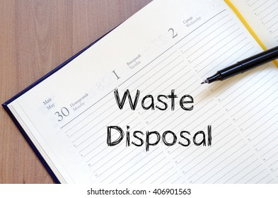 Waste disposal text concept write on notebook
