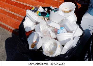 waste foam tray and plastic, waste garbage foam food tray white many pile on the plastic black bag dirty, Bin, Trash, Recycle