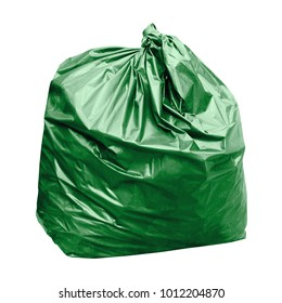 waste, green garbage bag plastic with concept the color of green garbage bags is biodegradable compostable waste (isolated on white background)