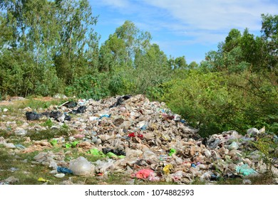 waste from household at forest. Can used for earth day and environment concept.