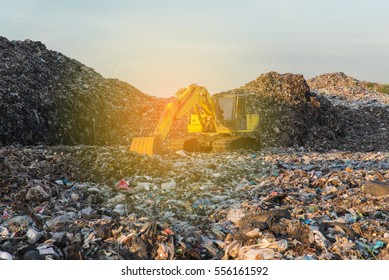 Waste in Landfill for household waste with sunlight