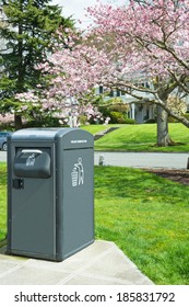 Waste Management Solar Powered Trash Compactor  in Park