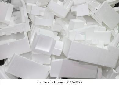 The waste pile of foam is not used. Unused foam waste.
