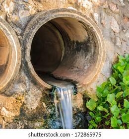 waste pipe or drainage polluting environment. concrete pipe.