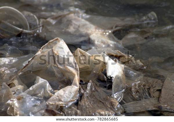 Waste plastic, Dirty plastic bags on the surface water, Waste plastic bags do not Decomposed garbage, Polluting nature ecological water dirty, Waste water, Rotten water background, Waste plastic bags