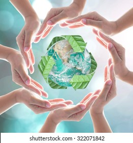 Waste recycle management, eco friendly, energy saving awareness and global warming protection concept: Elements of this image furnished by NASA