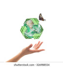 Waste recycle management, eco friendly concept with hands isolated on white: Elements of this image furnished by NASA