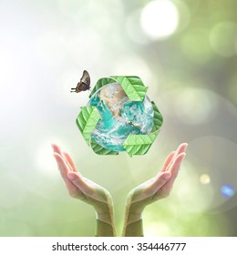 Waste recycle management, eco friendly and environmental sustainability concept: Elements of this image furnished by NASA