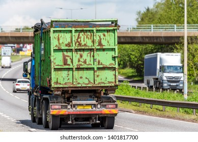 waste tipper lorry truck on uk motorway in fast motion