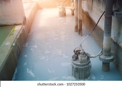 Waste water treatment pit with submersible pump
