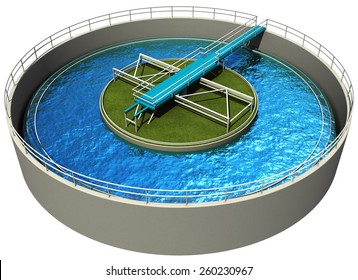 Waste water treatment plant, primary sedimentation stage, 3d render isolated on white