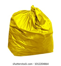 waste, yellow garbage bag plastic with concept the color of yellow garbage bags is recyclable waste (isolated on white background)