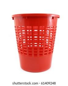 Wastebasket red plastic