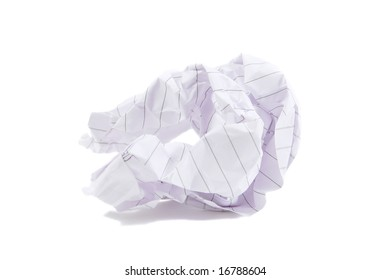 Wasted piece of paper isolated on a white background
