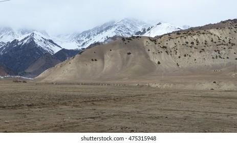 Wasteland somewhere between Osh and Sary Tash, Tian Shan mountains, Kyrgyzstan