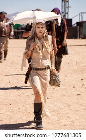 Wasteland Weekend, near California City, California. 9/23/16. A four-day celebration of a post apocalyptic world in the style of Mad Max. - Image