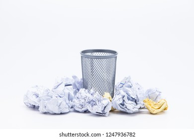 Wastepaper Basket With Papers Against White Background