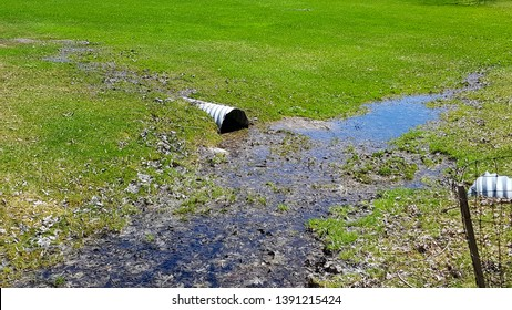 Wastewater pipe discharging water into a field