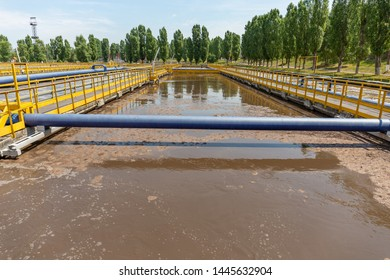 Wastewater treatment plant with tanks or reservoir for aeration and biological purification of sewage.